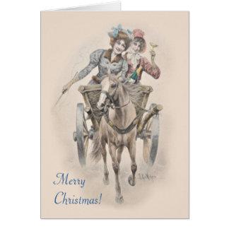 Navidad del caballo, del carro y de los chicas tarjeta de felicitación