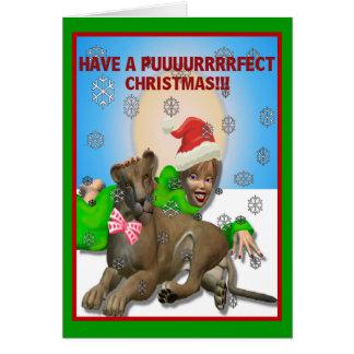 Navidad del chica chistoso de Santa y del gato Tarjeta De Felicitación
