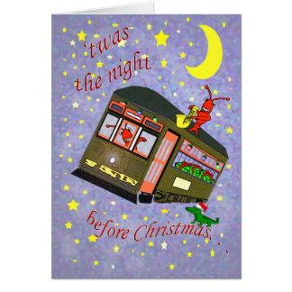 Navidad del coche y de los cangrejos de la calle tarjeta