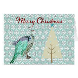 Navidad del copo de nieve del azul de pavo real qu tarjeta