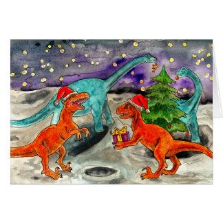 Navidad del dinosaurio tarjeta de felicitación