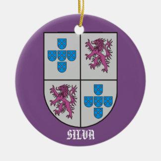 Navidad del escudo de armas de la familia del adorno navideño redondo de cerámica