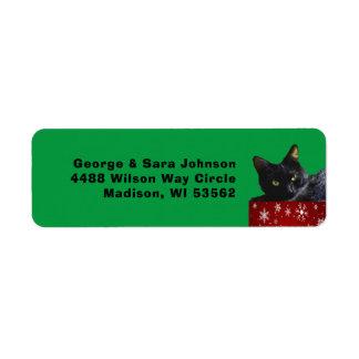 Navidad del gato negro en etiqueta de dirección de