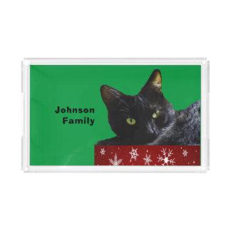 Navidad del gato negro en la bandeja roja de la