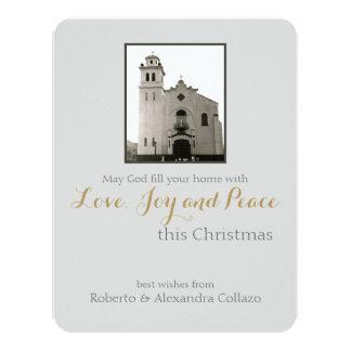 Navidad del gris de la iglesia católica invitación 10,8 x 13,9 cm