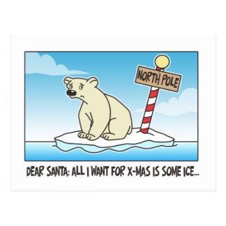 Navidad del hielo del oso polar postal