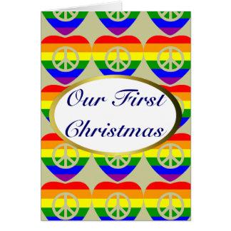 Navidad del matrimonio homosexual de los corazones felicitación