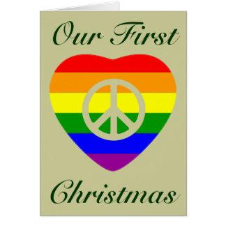 Navidad del matrimonio homosexual del corazón de l tarjeton