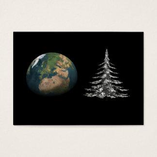 navidad del mundo y árbol de abeto tarjeta de negocios