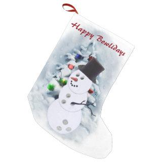 Navidad del muñeco de nieve de la bola de bolos calcetín de navidad pequeño