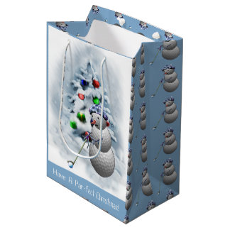 Navidad del muñeco de nieve de la pelota de golf bolsa de regalo mediana