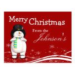 Navidad del muñeco de nieve del dibujo animado que tarjeta postal