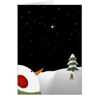 Navidad del muñeco de nieve en tarjeta de