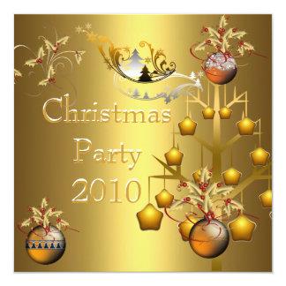 Navidad del oro de la fiesta de Navidad de la Invitaciones Personalizada