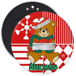 Navidad del oso de peluche que almacena los botone chapa redonda 15 cm