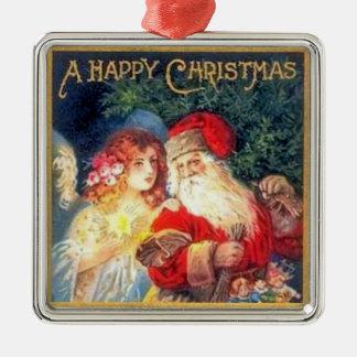 Navidad del padre adorno cuadrado plateado