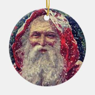 Navidad del padre adorno redondo de cerámica