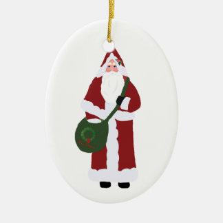 Navidad del padre adorno navideño ovalado de cerámica