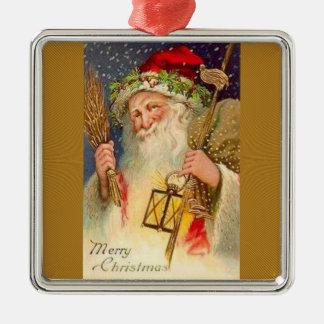 Navidad del padre con trigo y la linterna adorno navideño cuadrado de metal