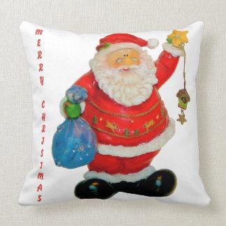 Navidad del padre de Papá Noel con el bolso y la Cojín Decorativo