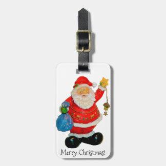 Navidad del padre de Papá Noel con el bolso y la Etiquetas Para Maletas