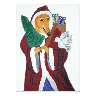 Navidad del padre del galgo invitación 13,9 x 19,0 cm