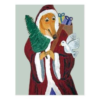 Navidad del padre del galgo postal