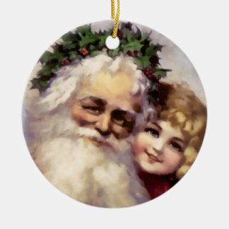 Navidad del padre del Victorian del día de fiesta Adorno Navideño Redondo De Cerámica