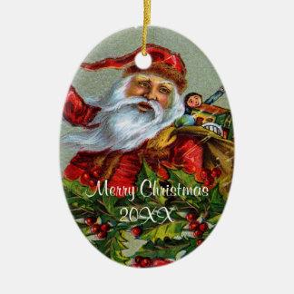 Navidad del padre del vintage/fecha del adorno navideño ovalado de cerámica