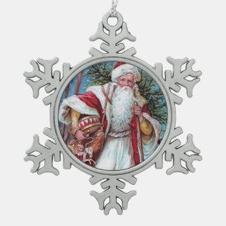 Navidad del padre en su manera adorno de peltre en forma de copo de nieve