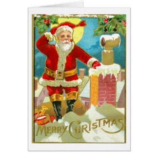 Navidad del padre en una chimenea tarjeta de felicitación