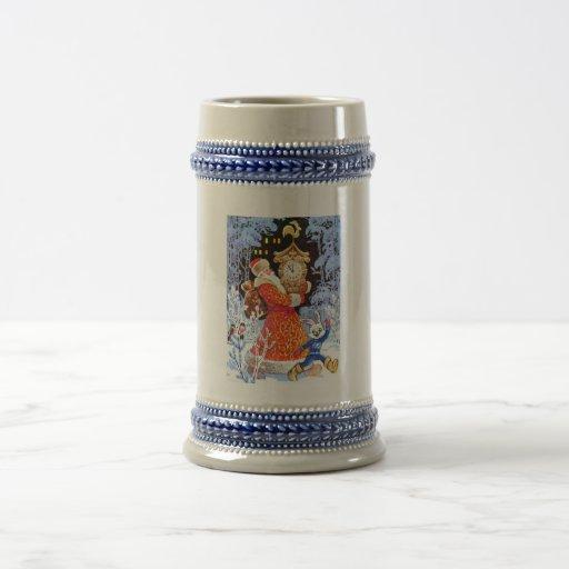 Navidad del padre, escena del ruso del vintage tazas