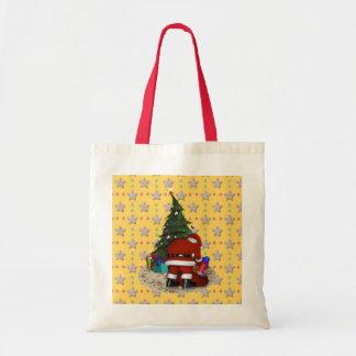 Navidad del padre y el árbol de navidad bolsa tela barata