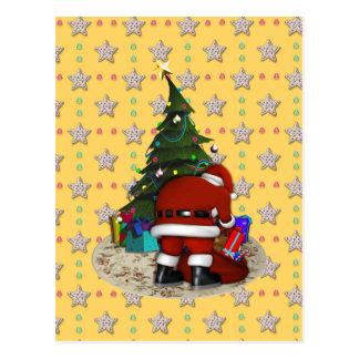 Navidad del padre y el árbol de navidad postal