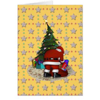 Navidad del padre y el árbol de navidad tarjeta de felicitación