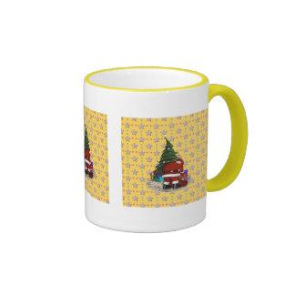 Navidad del padre y el árbol de navidad taza de dos colores