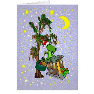 Navidad del pantano de Cajun del cocodrilo de Tarjeta
