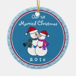 Navidad del par de la Personalizar-Nieve el nuestr Ornamentos Para Reyes Magos