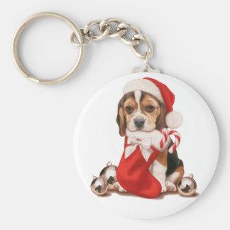 Navidad del perrito del beagle llavero redondo tipo chapa