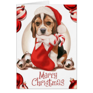 Navidad del perrito del beagle felicitaciones