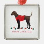 Navidad del perro de Plott Adorno Navideño Cuadrado De Metal
