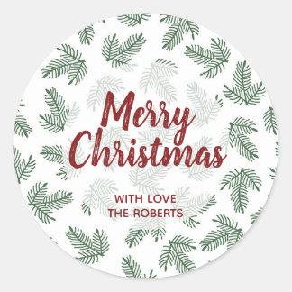 Navidad del pino de la etiqueta del pegatina del
