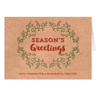 Navidad del profesor de la guirnalda del vintage tarjeta de felicitación