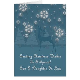 Navidad del reno del hijo y de la nuera tarjeta de felicitación