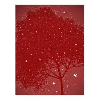 navidad del rojo del árbol del efecto postal