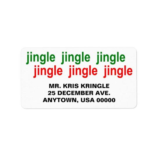 Navidad del rojo del verde del tintineo del etiqueta de dirección