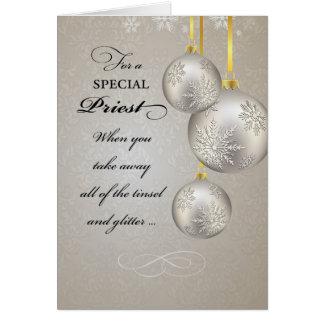 Navidad del sacerdote católico, elegante tarjeta de felicitación