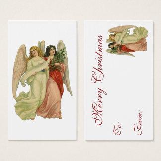 Navidad del vintage, ángel antiguo del Victorian Tarjeta De Visita