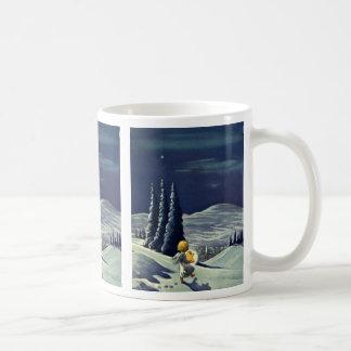 Navidad del vintage, ángel de la nieve que camina taza de café