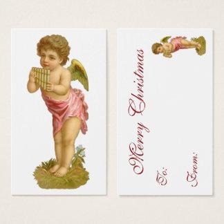 Navidad del vintage, ángel del músico con los tarjeta de visita
